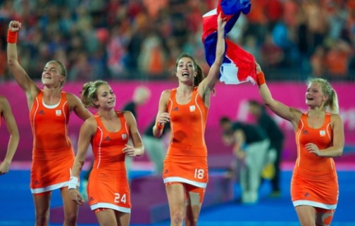 The Netherlands women's team celebrate their gold medal at London 2012