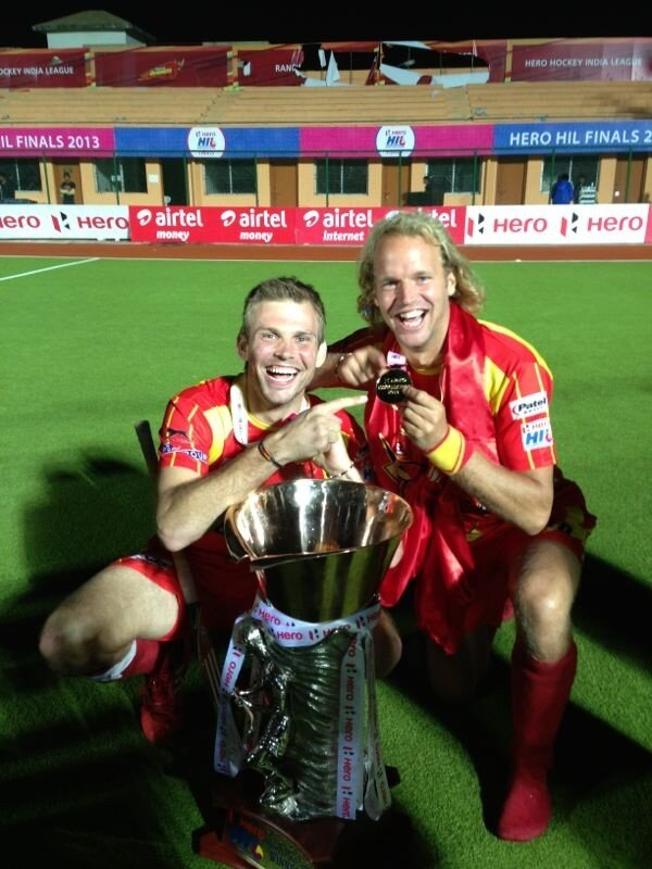Mo Fuerste and Floris Evers of the Ranchi Rhinos