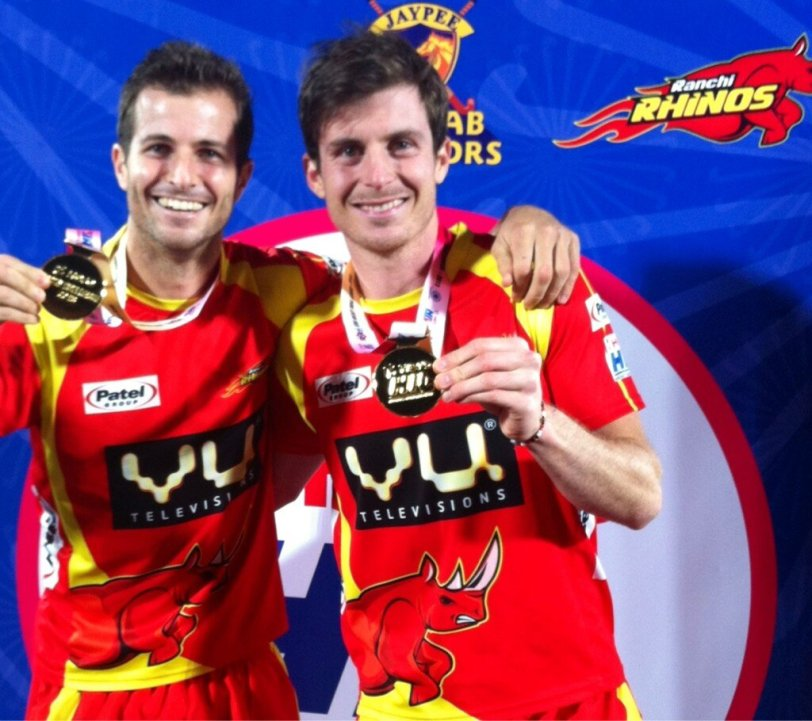 The two south africans playing for the ranchi rhinos - austin smith and justin reidross